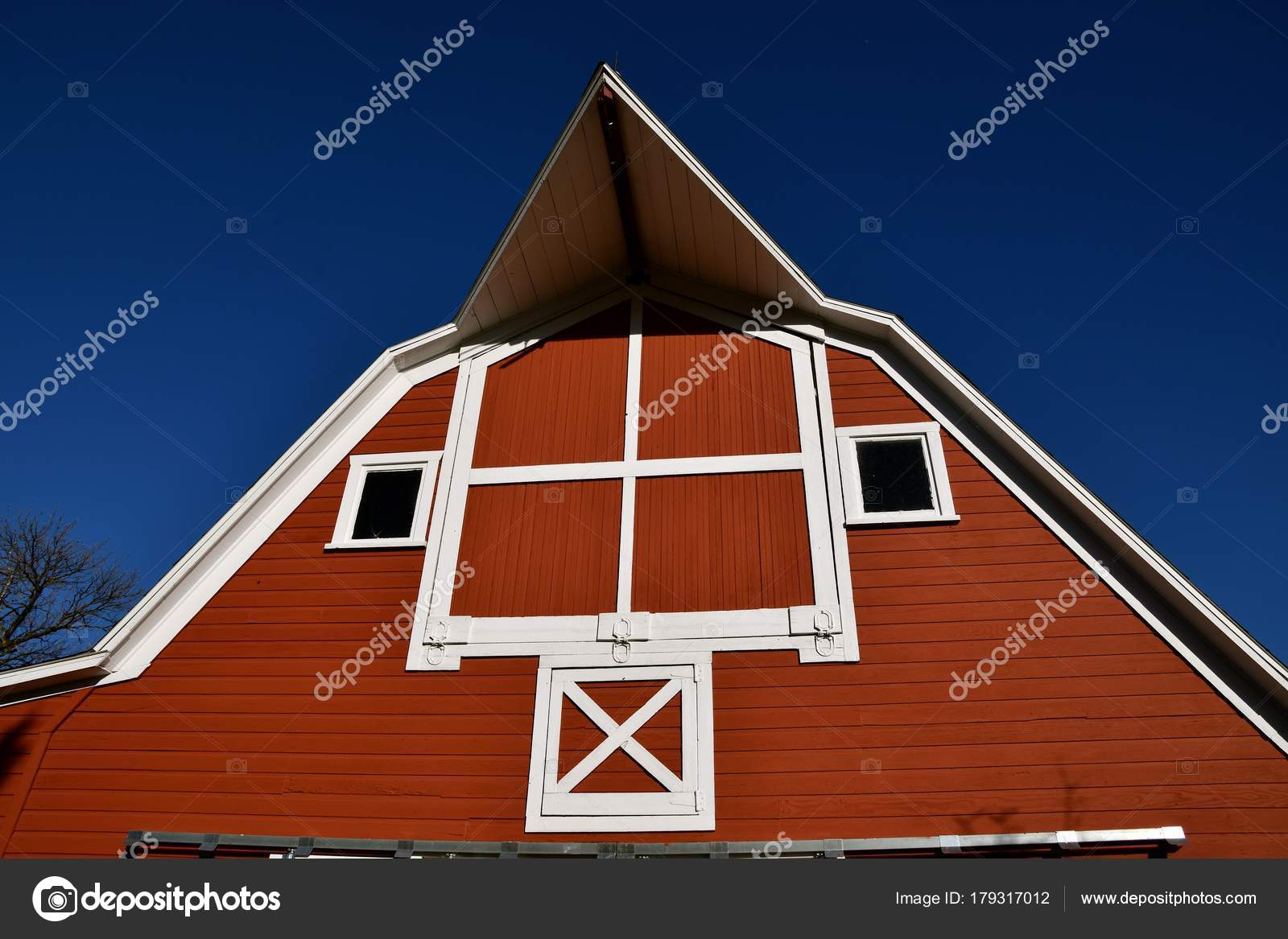 Old Red Restored Barn Hay Loft Doors Extended Peak Stock Photo