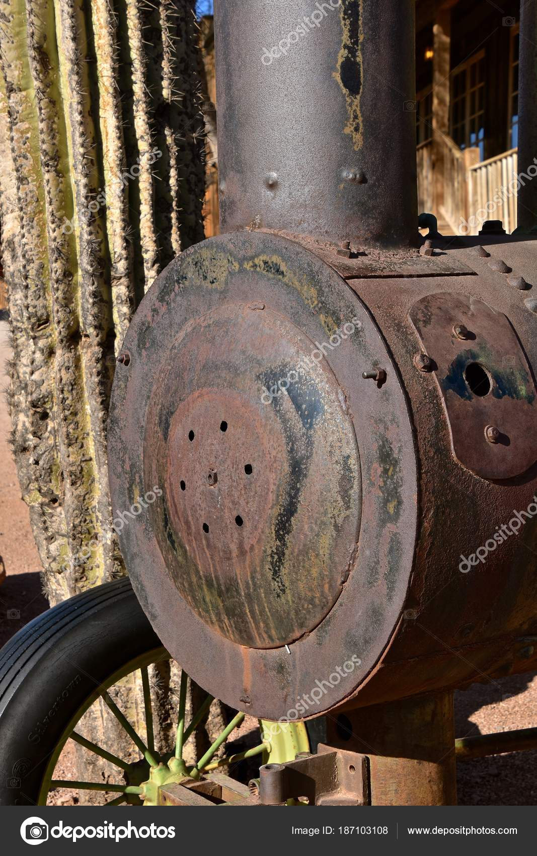 Boiler Steam Stack Very Old Steam Engine Tractor Cactus Tree — Stock ...