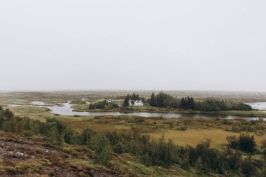 landscape of Iceland with buildings