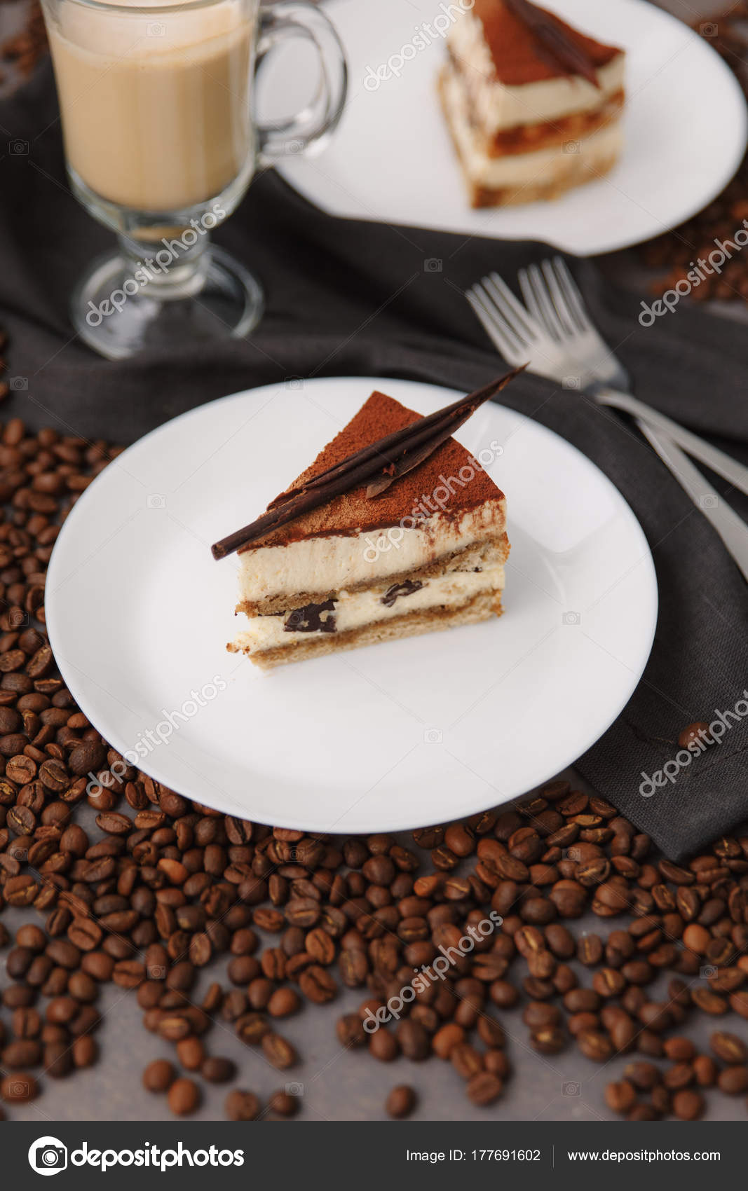 Composition Birthday Cake White Plate Coffee Beans Forks Napkin