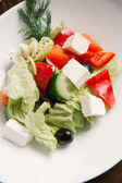 Fotografie Appetizing Greek salad served with dill branch on white plate