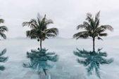 Fotografie Zobrazit palem, Vymazat pozadí bazén a moře