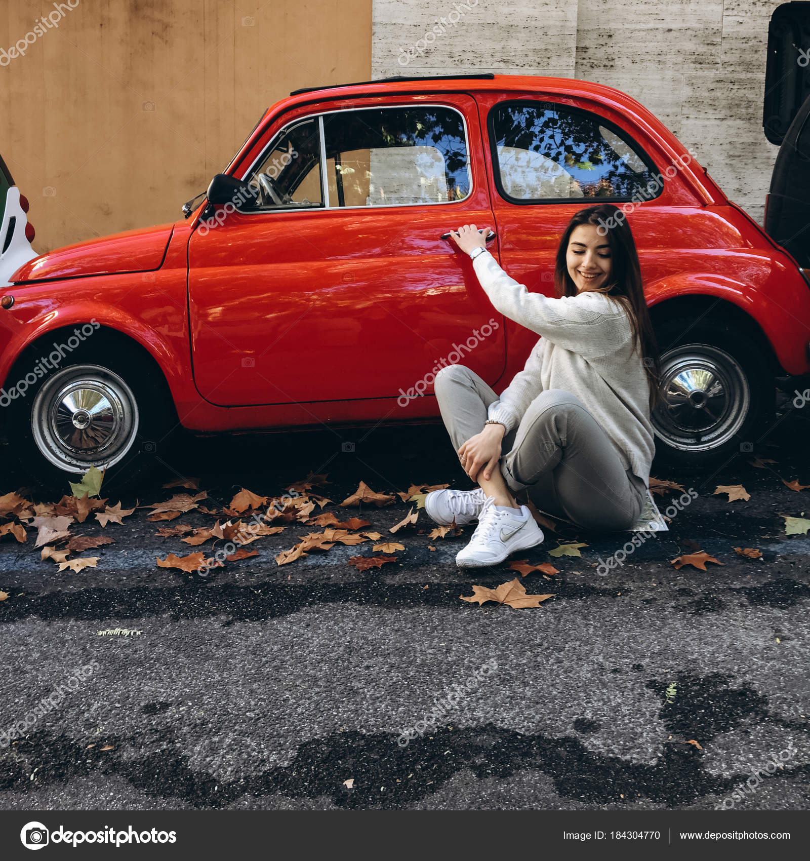 Close Young Woman Pose Little Red Retro Car City Street Stock
