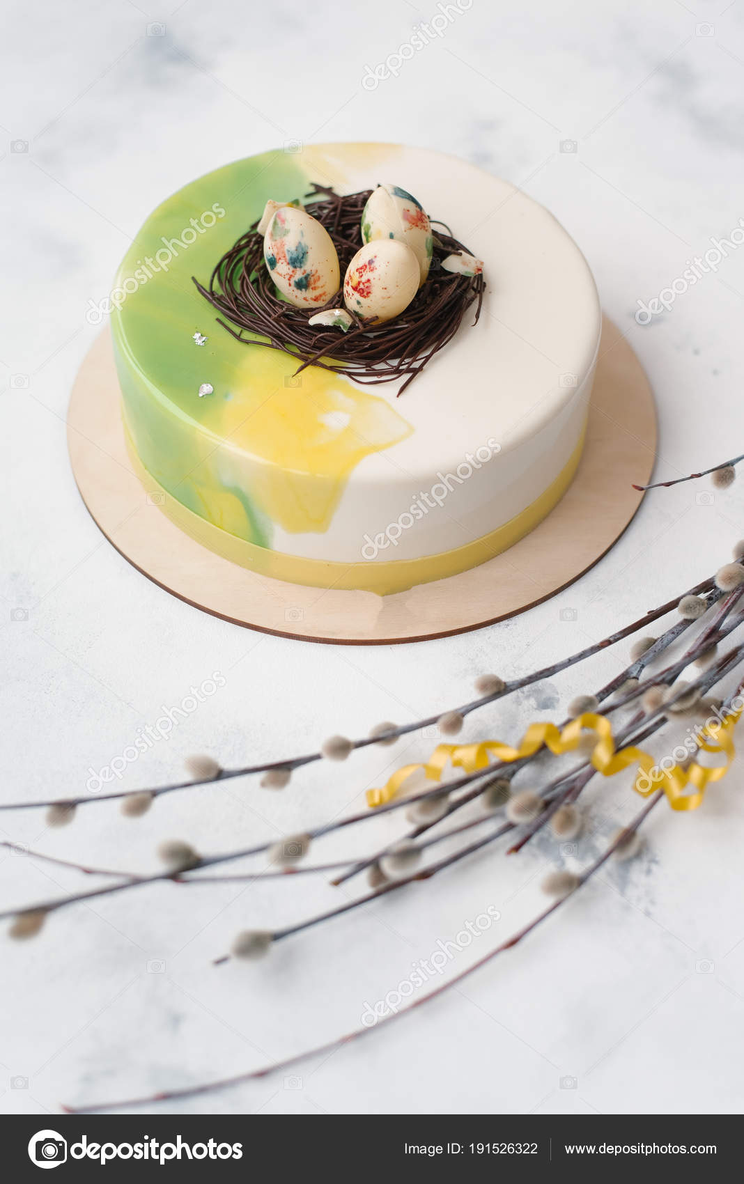 Composition White Green Glazed Cake Eggs Top Willow Branches Marble Stock Photo C Tytbil88 191526322