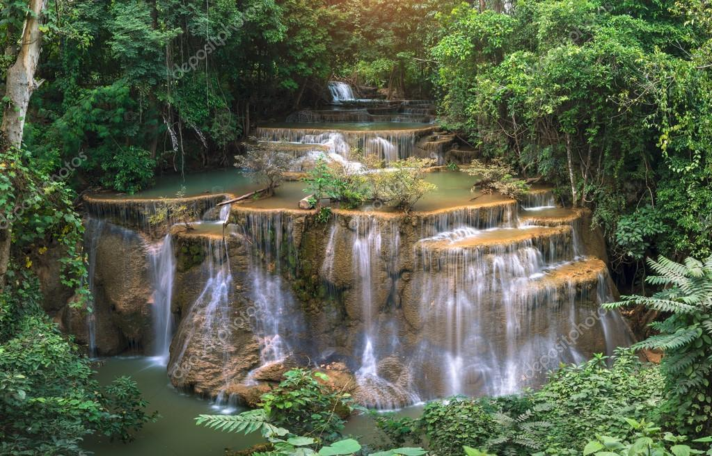 Waterfall in deep rainforest jungle