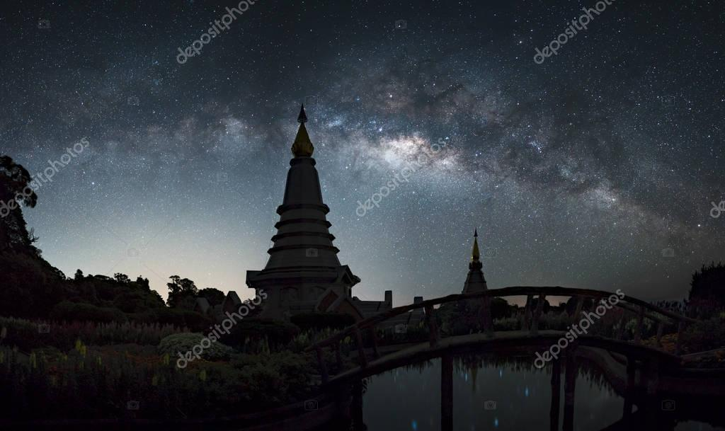 galaxy Landscape of two pagoda on the top of Inthanon mountain,