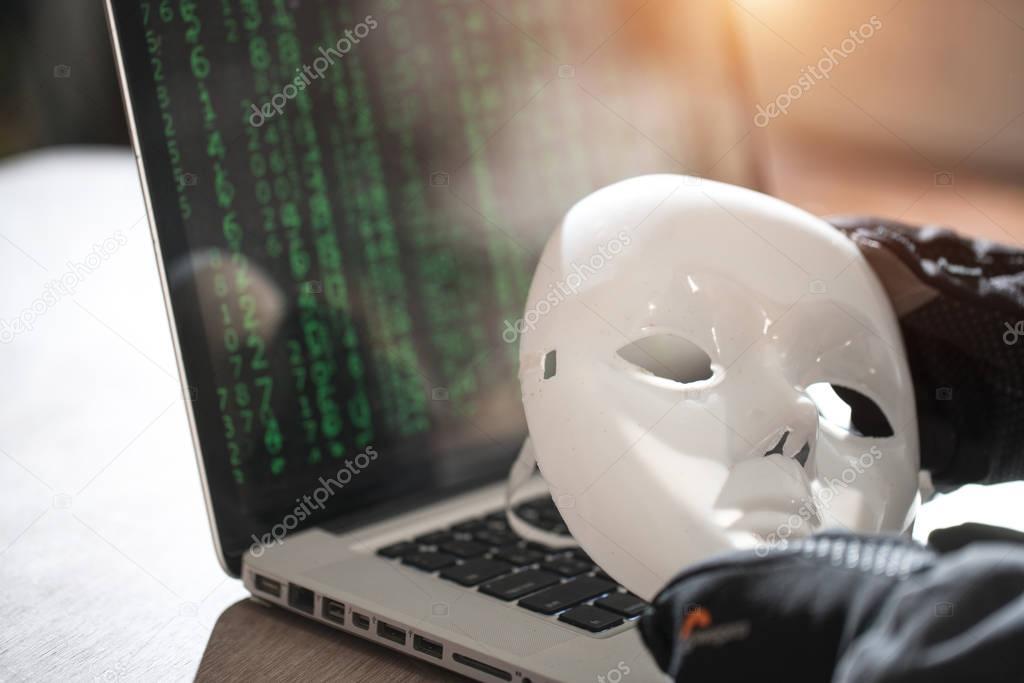 Bangkok, Thailand May, 2017: Hacker wear an anonymous mask with