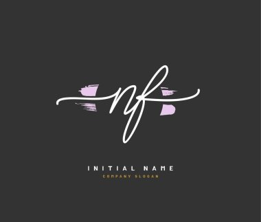 N F NF Beauty vector initial logo, handwriting logo of initial signature, wedding, fashion, jewerly, boutique, floral and botanical with creative template for any company or business.