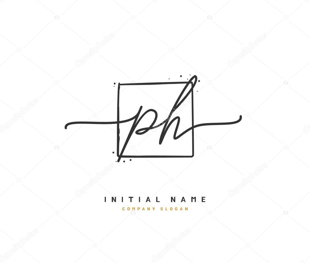 P H PH Beauty vector initial logo, handwriting logo of initial signature, wedding, fashion, jewerly, boutique, floral and botanical with creative template for any company or business.