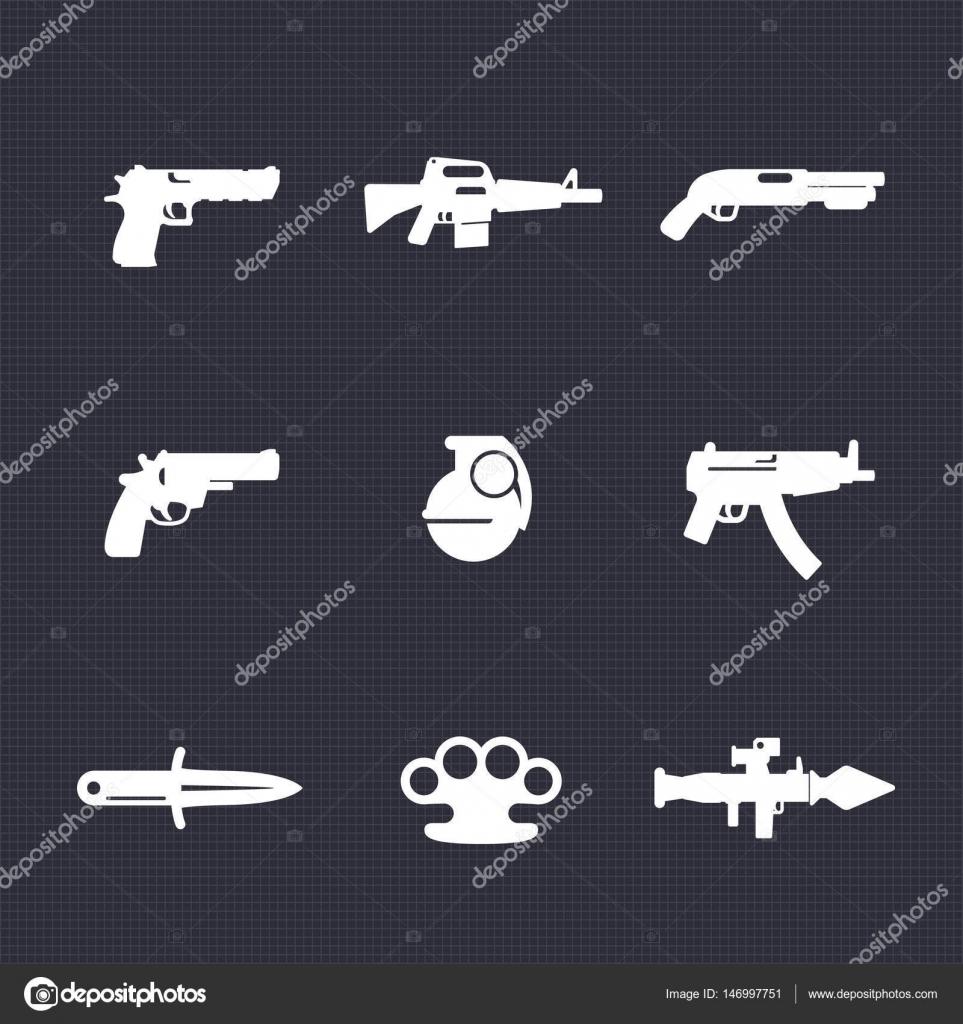 Weapons icons set pistol assault rifle revolver shotgun weapons icons set pistol assault rifle revolver shotgun grenade submachine gun knife rocket launcher vector by nexusby buycottarizona