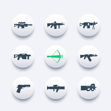 weapons, firearms icons set, sniper and assault rifles, machine gun, pistol, rocket launcher, crossbow, handguns, vector illustration