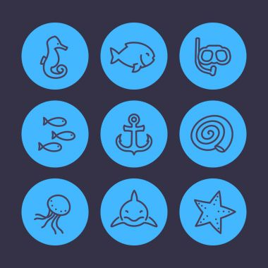 Sea line icons set, shark, fish, shell, medusa, starfish, anchor, diving mask