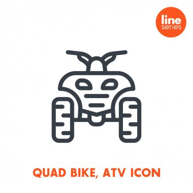 quad bike line icon, all terrain vehicle (ATV), quadricycle sign over white, vector illustration