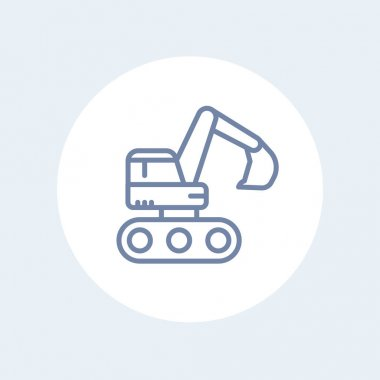 excavator icon in linear style isolated on white