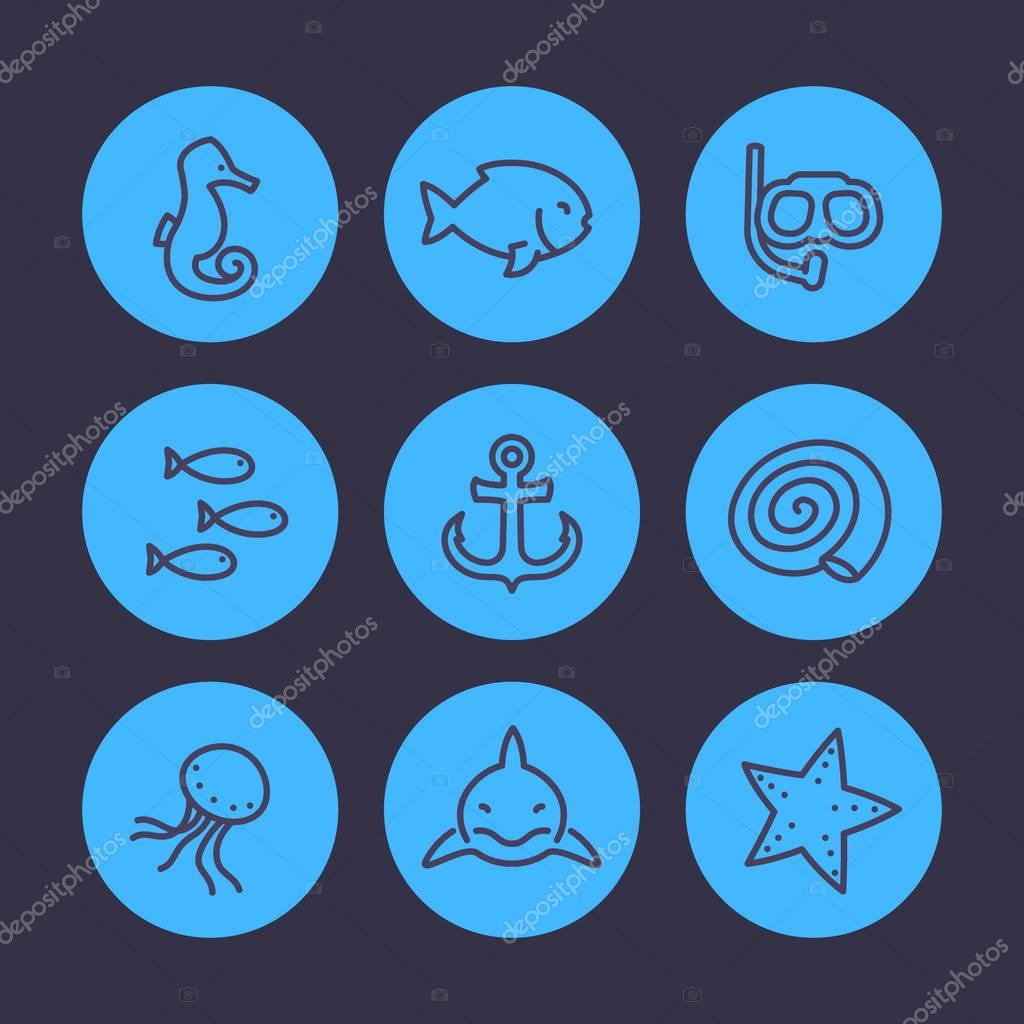 Sea line icons set, shark, fish, shell, medusa, starfish, anchor, diving mask