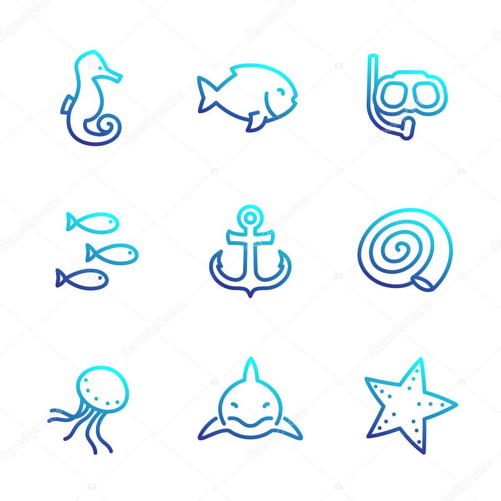 Sea line icons isolated over white, shark, fish, shell, seahorse, medusa, starfish, anchor, diving mask