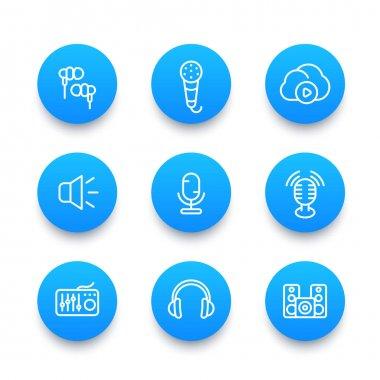Audio line icons set