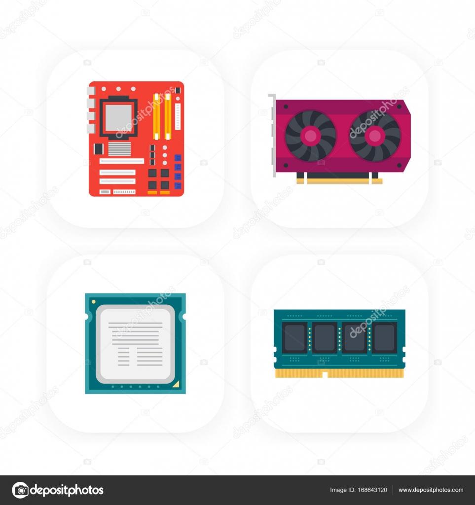 Computer Komponenten Symbole — Stockvektor © nexusby #168643120