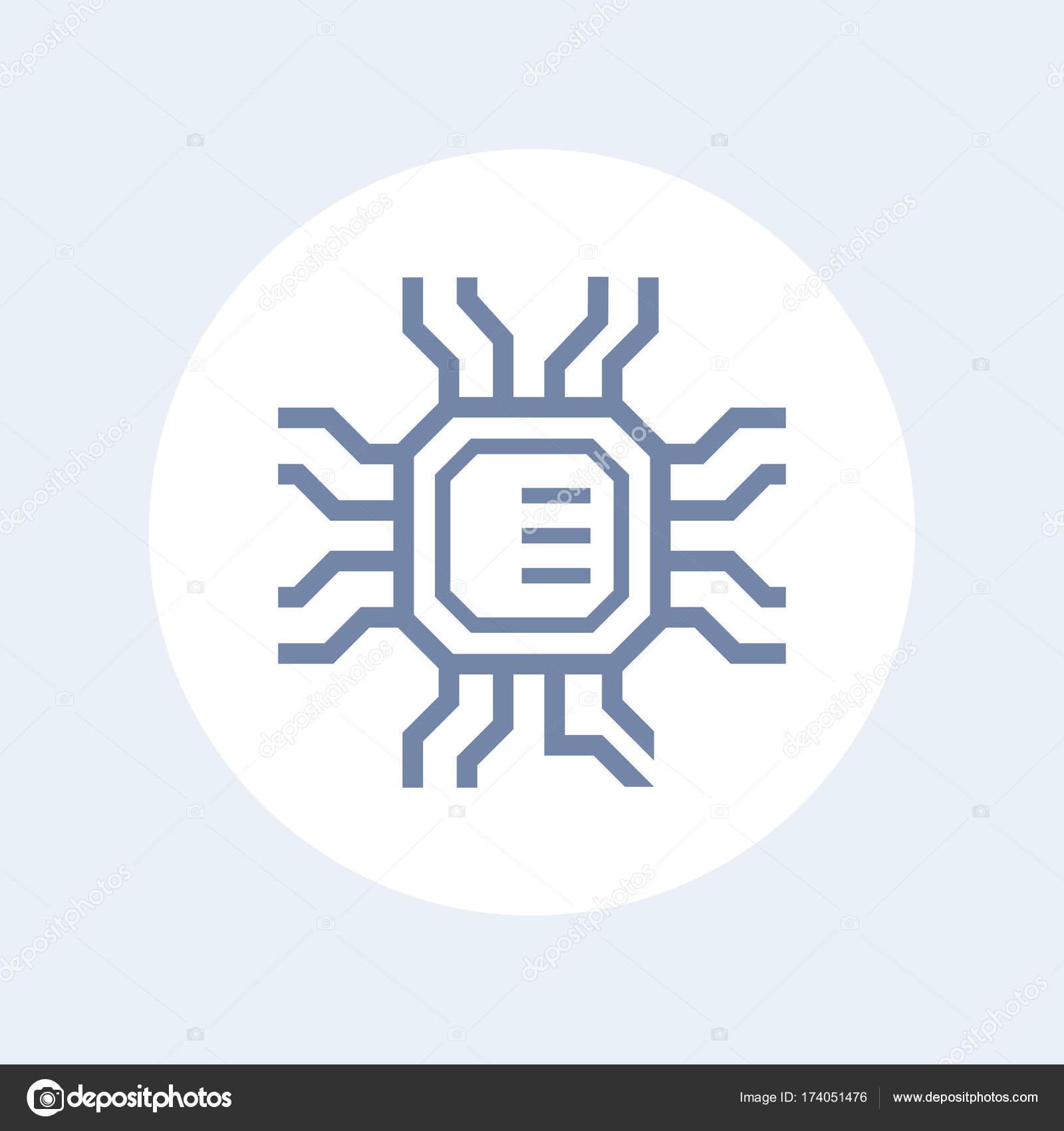 Chipsatz, Mikrochip, elektronische Schaltung Symbol — Stockvektor ...