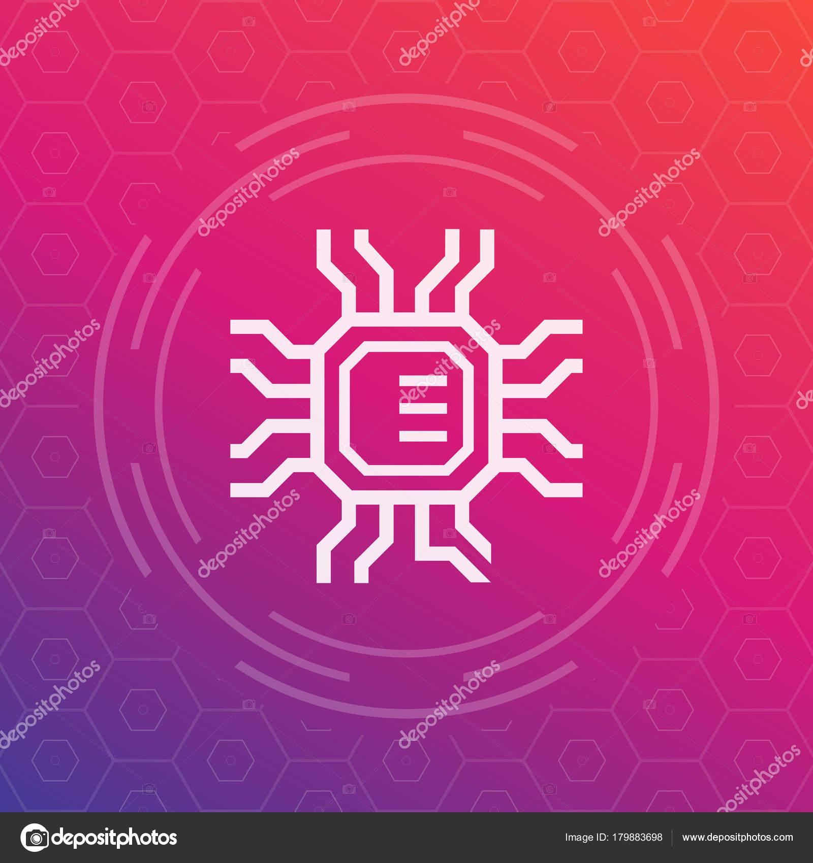Chipsatz, elektronische Schaltung Symbol, Mikrochip — Stockvektor ...