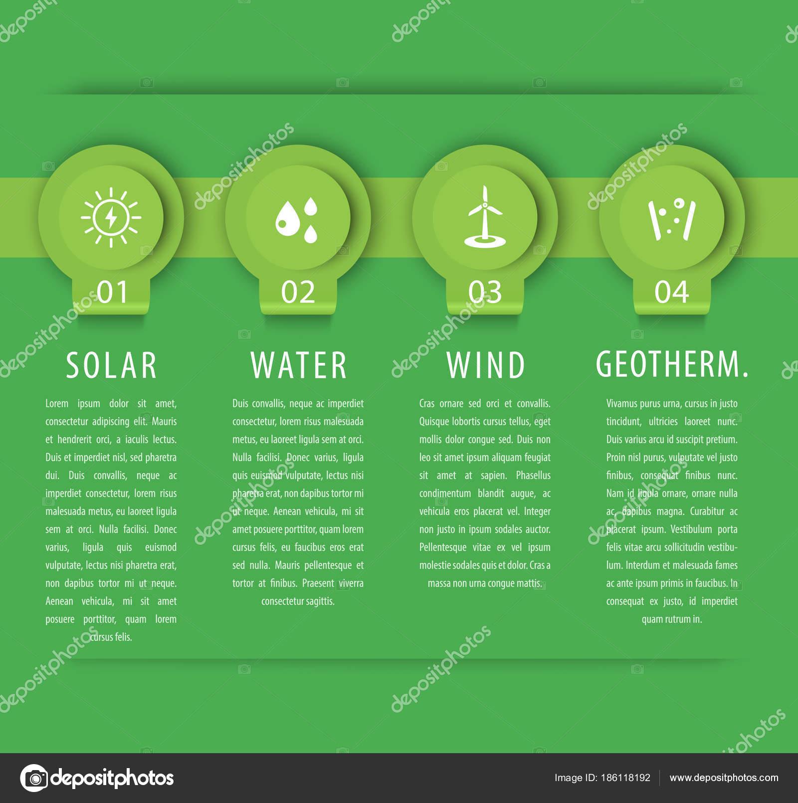 Alternative Energielsungen Solar Wind Energetik Infografik Elemente Diagram Grne Vorlage Vektor Stockvektor