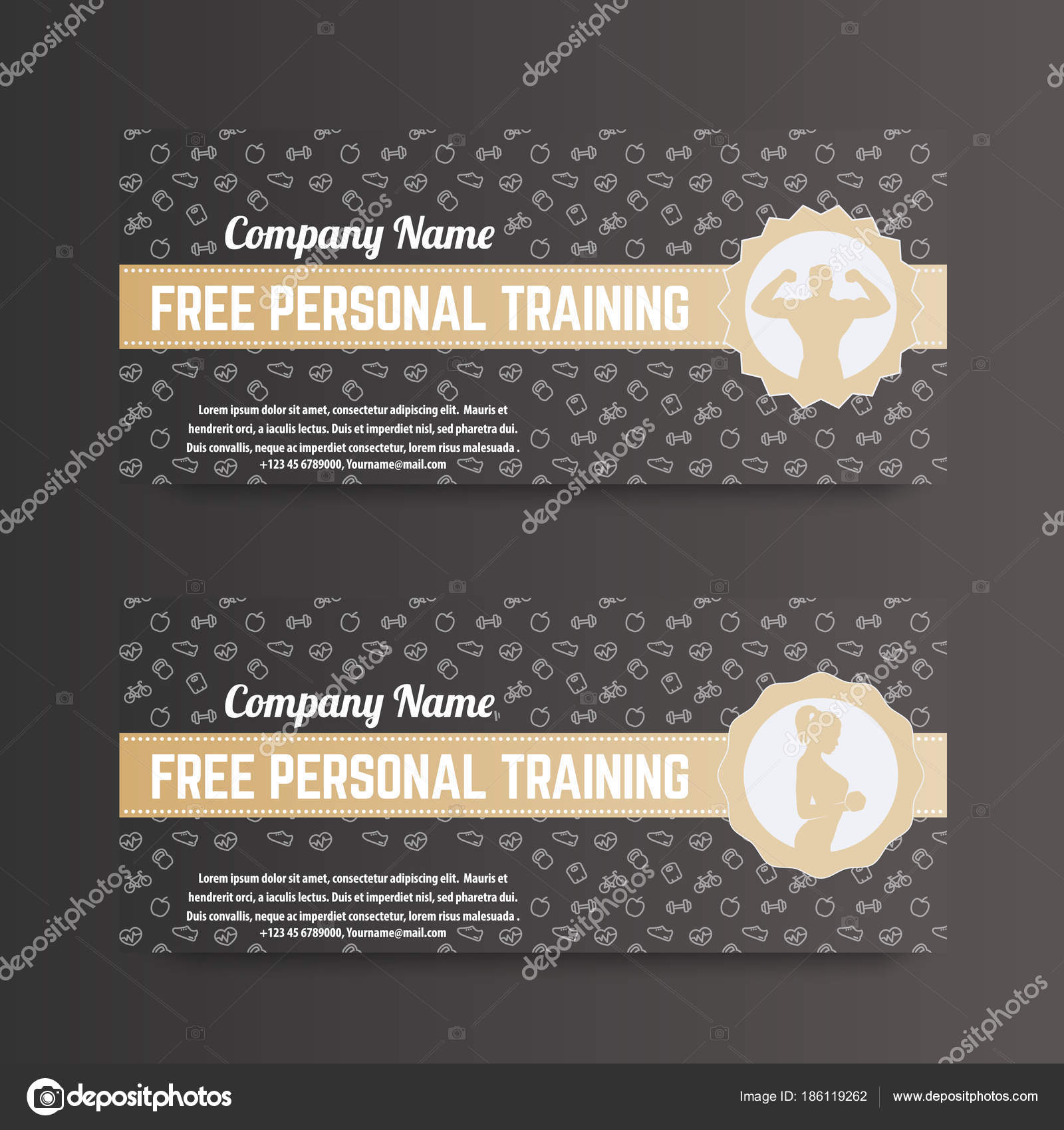 Free personal training gift voucher gym fitness club gold dark free personal training gift voucher gym fitness club gold dark stock vector negle Images