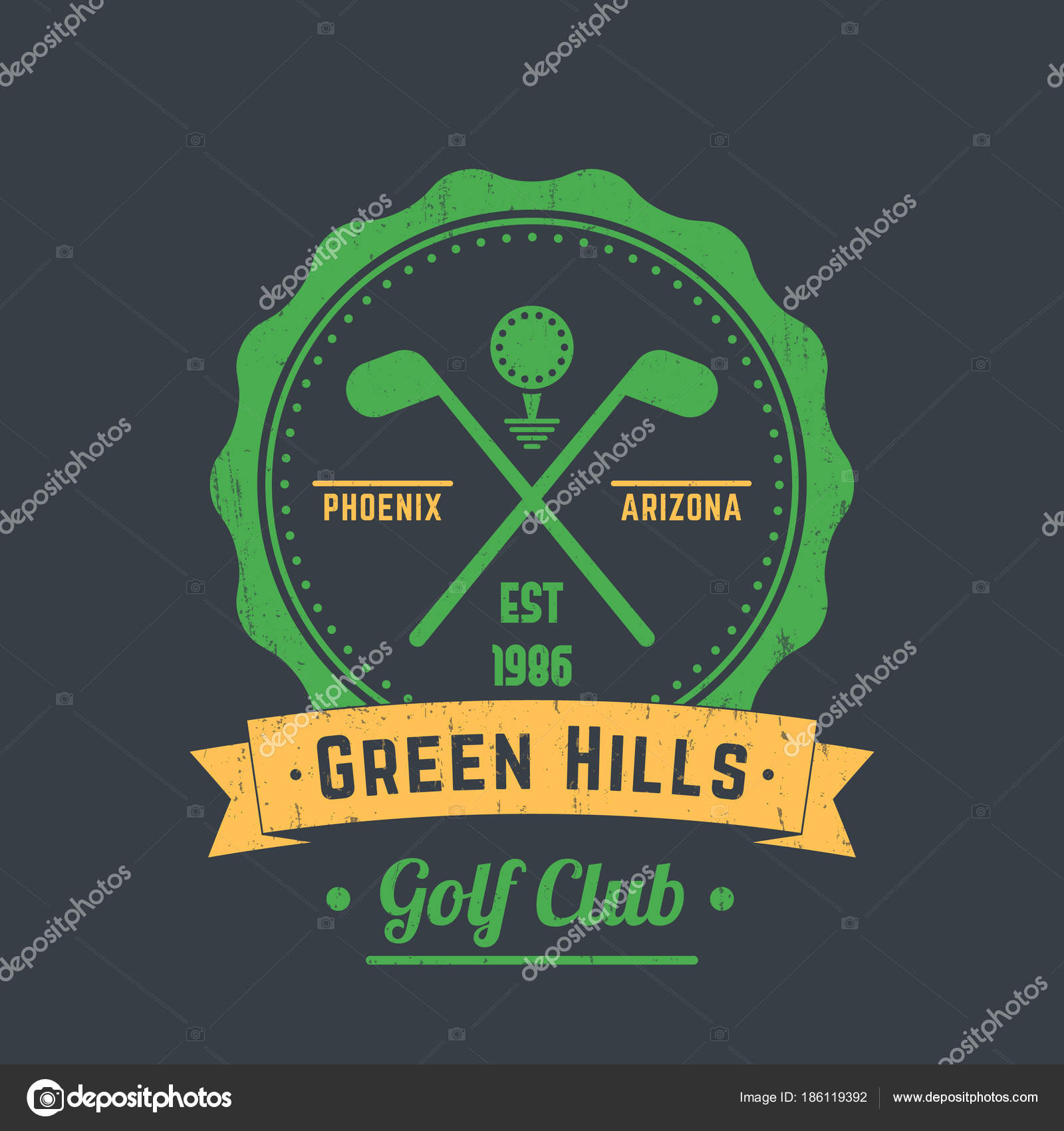 Golf Club Vintage Logo Emblem Crossed Golf Clubs Ball Gray — Stock Golf Clubs Crossed Logo Design on golf t-shirt logo design, baseball skull tattoo design, golf club embroidery design,
