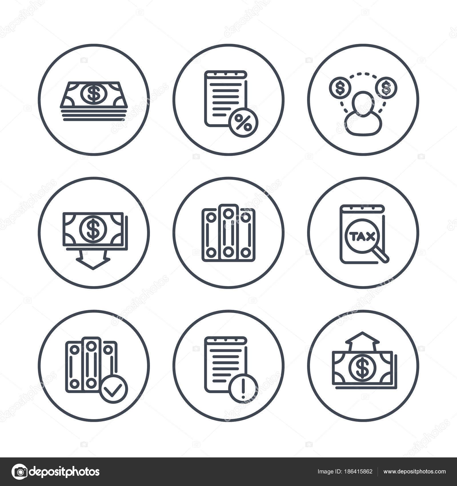 Buchhaltung Linie Symbole Kreise Lohn Und Gehaltsabrechnung Steuern ...