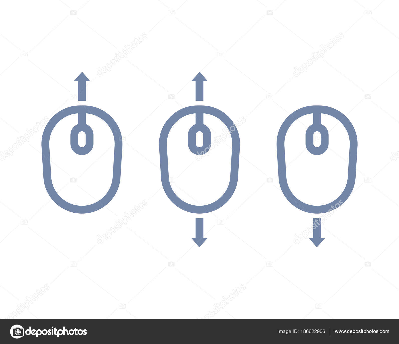 Scroll Up Down With Mouse Icon Stock Vector Nexusby 186622906