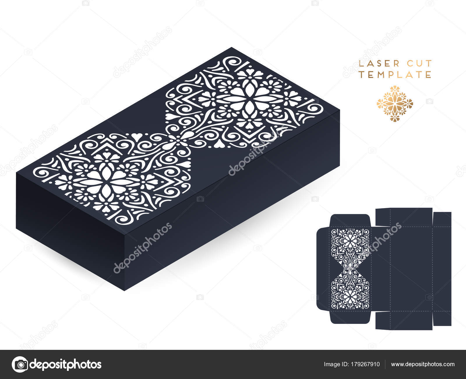 Láser de tarjeta de boda vector plantilla caja de corte. Elementos ...