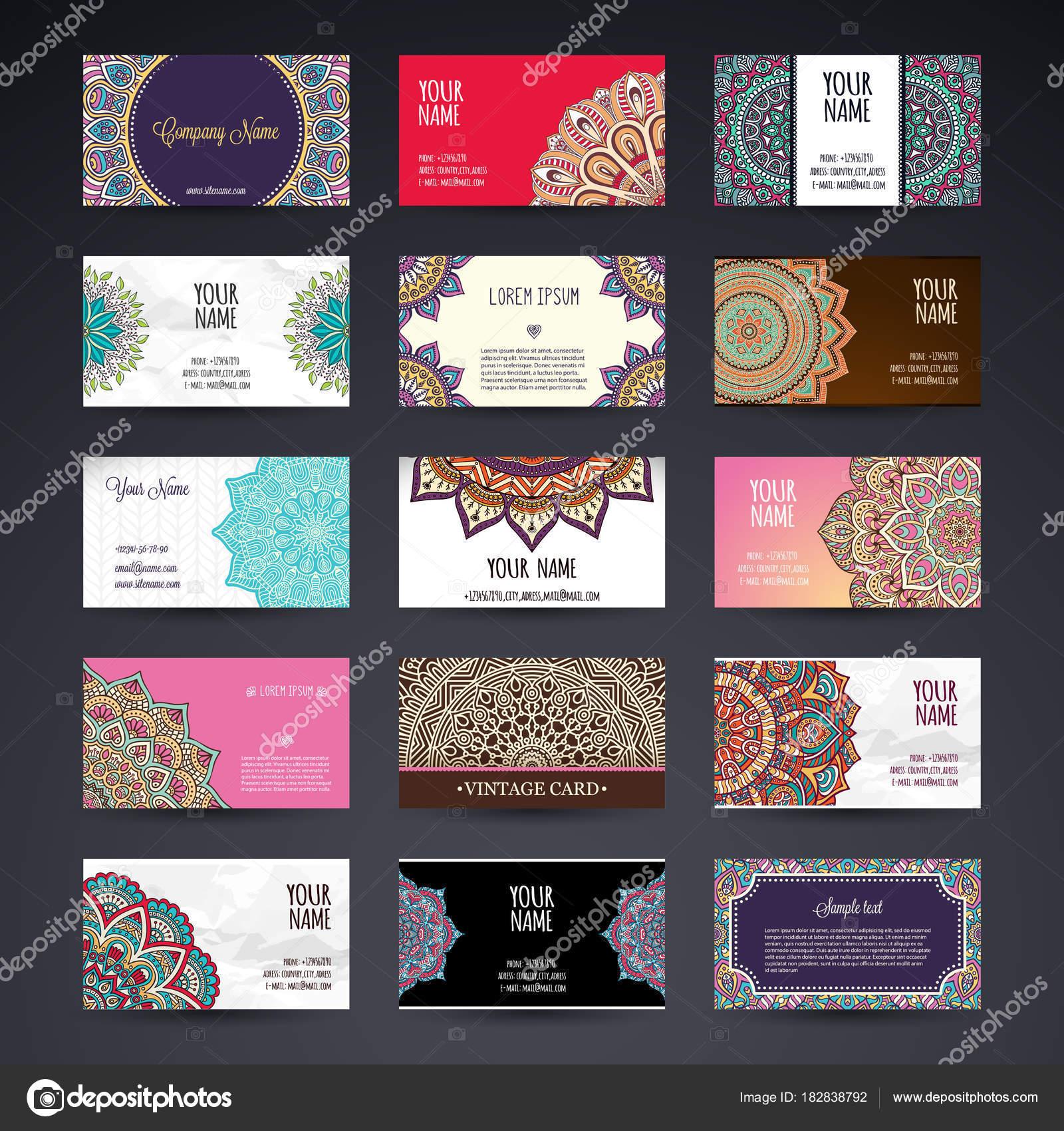 Business Card. Vintage decorative elements. Ornamental floral ...
