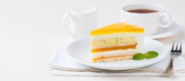 Passion fruit cake mousse dessert, tropical flavor