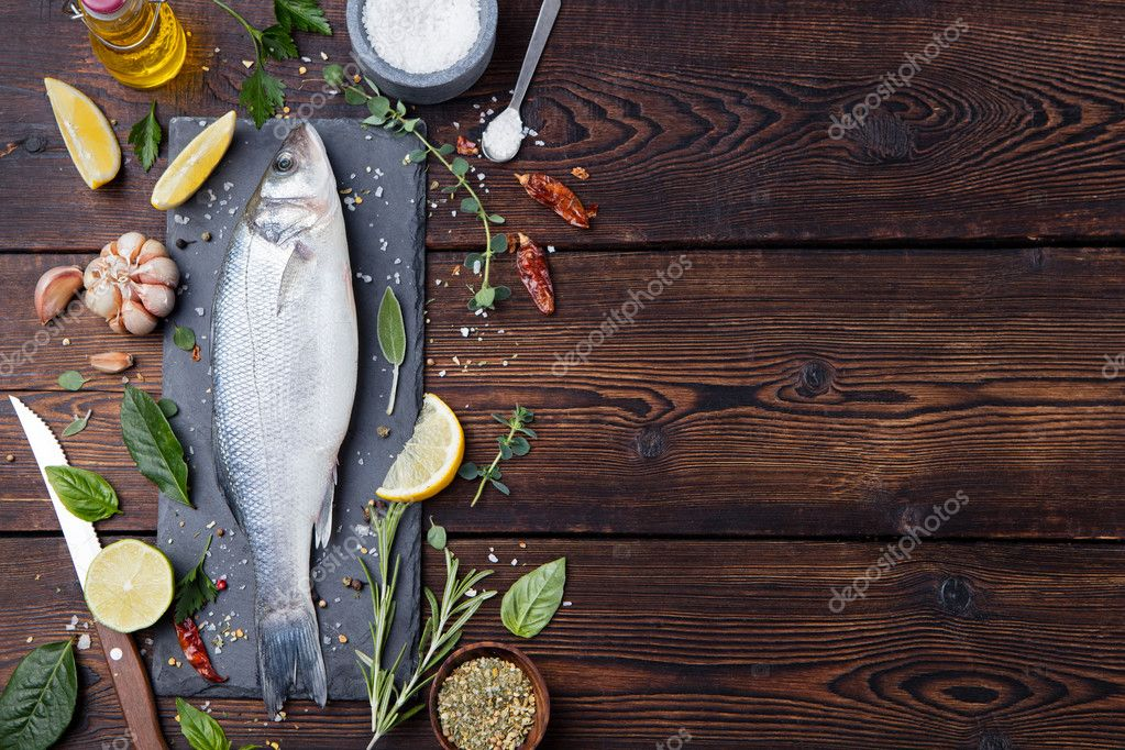 Raw fish, sea bass for cooking, grill, roasting