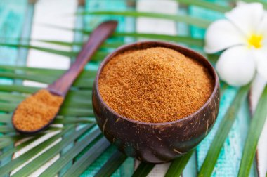 Coconut brown sugar in a wooden bowl.
