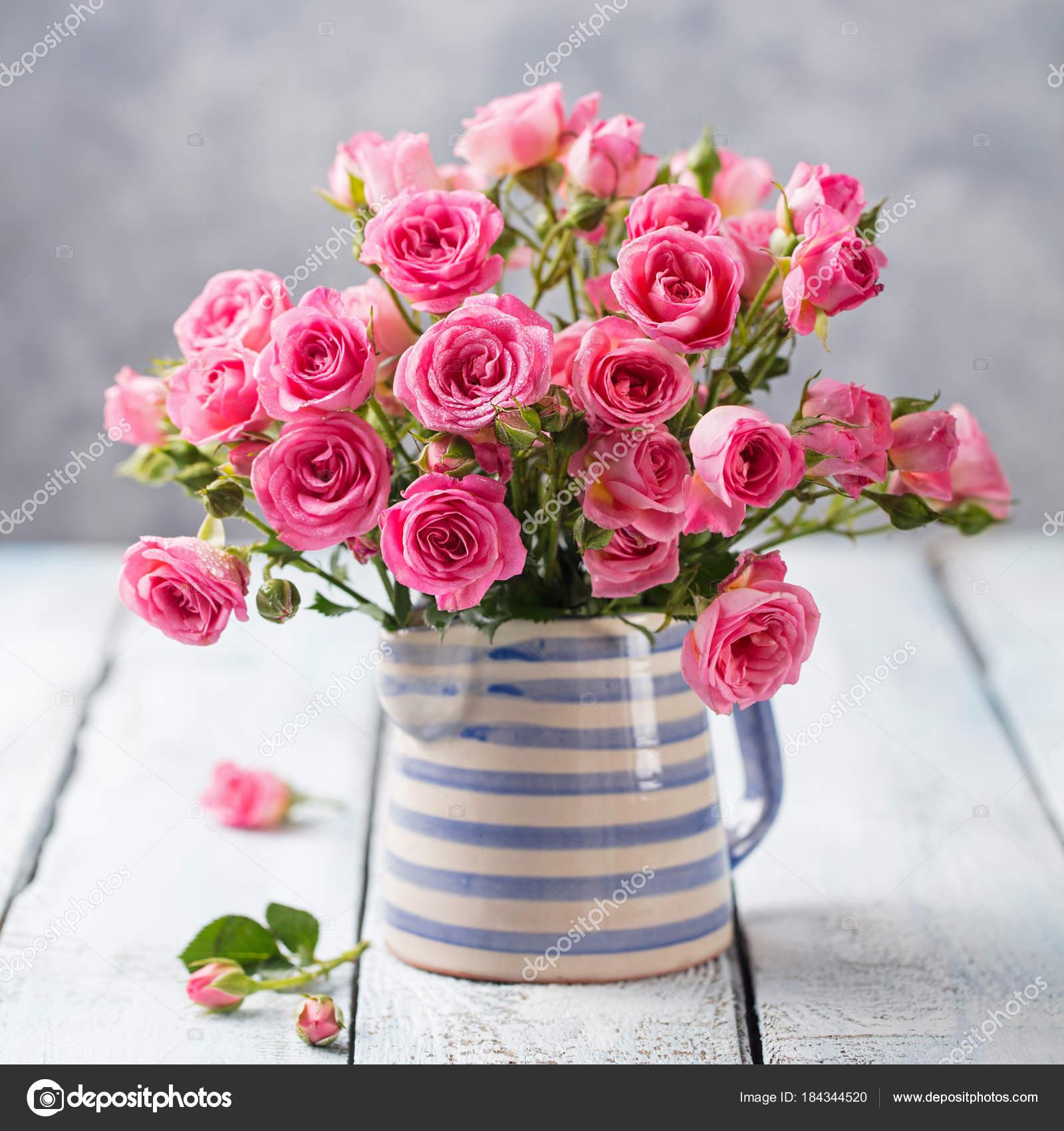 Rose Flowers In Vase Beautiful Romantic Bouquet Stock Photo