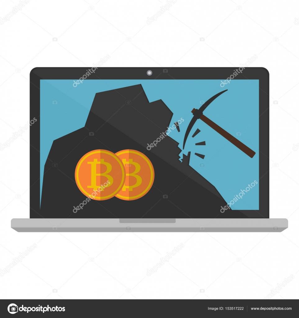 Computer laptop monitor displaying bitcoin mining on white computer laptop monitor displaying bitcoin mining on white background vector illustration bitcoin mining concept ccuart Images