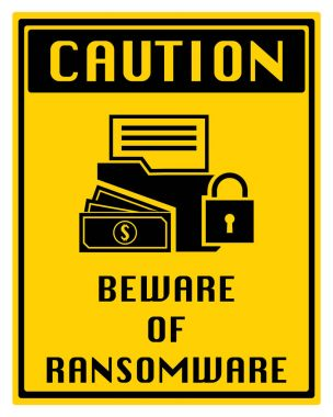 Design logo sticker with folder locked and massage beware of ransomware malware wannacry virus encrypted files. Vector illustration cybercrime and cyber security concept.