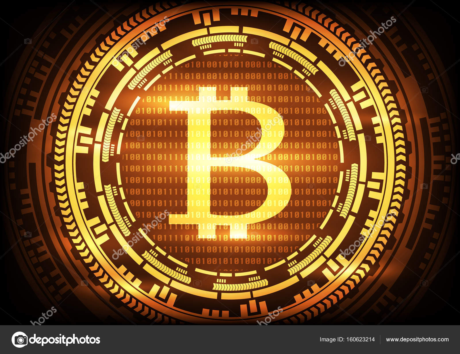 Abstract Technology Bitcoins Logo On Binary Code And Gear Gold Background Vector Illustration Bitcoin Mining
