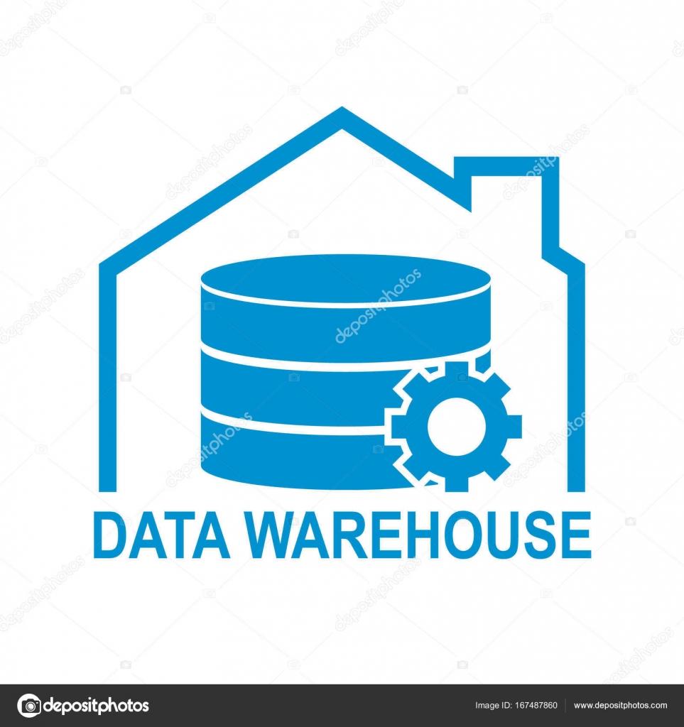 data warehouse icon logo design vector illustration technology solution tend concept design stock