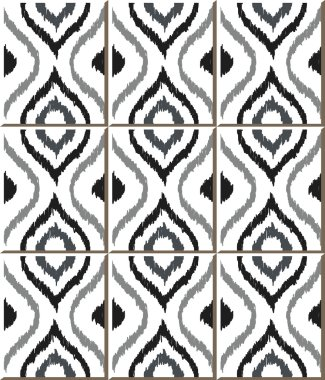 Vintage seamless wall tiles of hand drawn grey round curve, Moroccan, Portuguese.