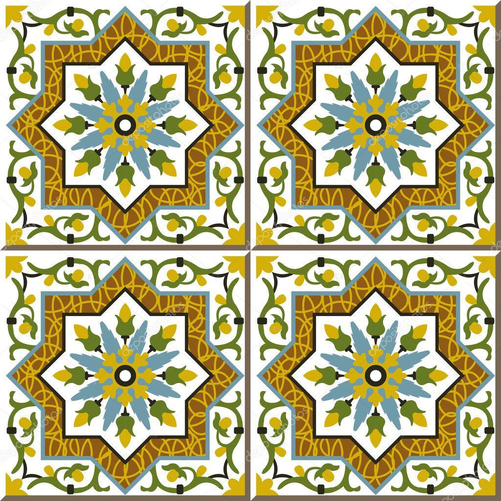 Vintage seamless wall tiles of spiral vine flower star, Moroccan ...
