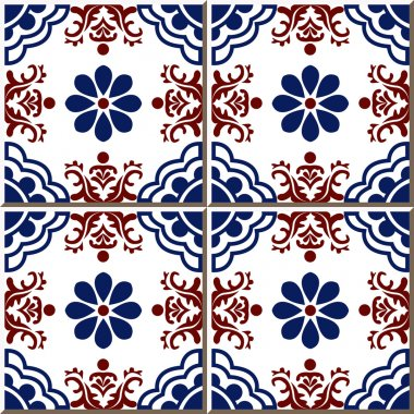 Ceramic tile pattern 313 elegant vintage red flower