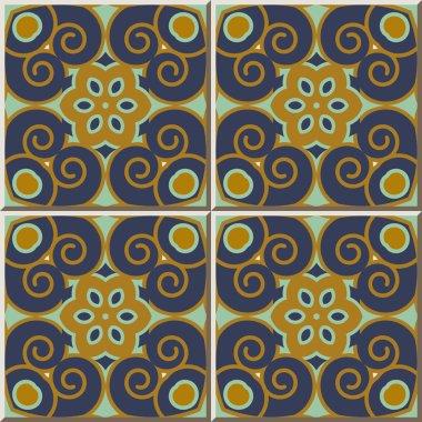 Ceramic tile pattern 363 vintage round spiral flower kaleidoscope