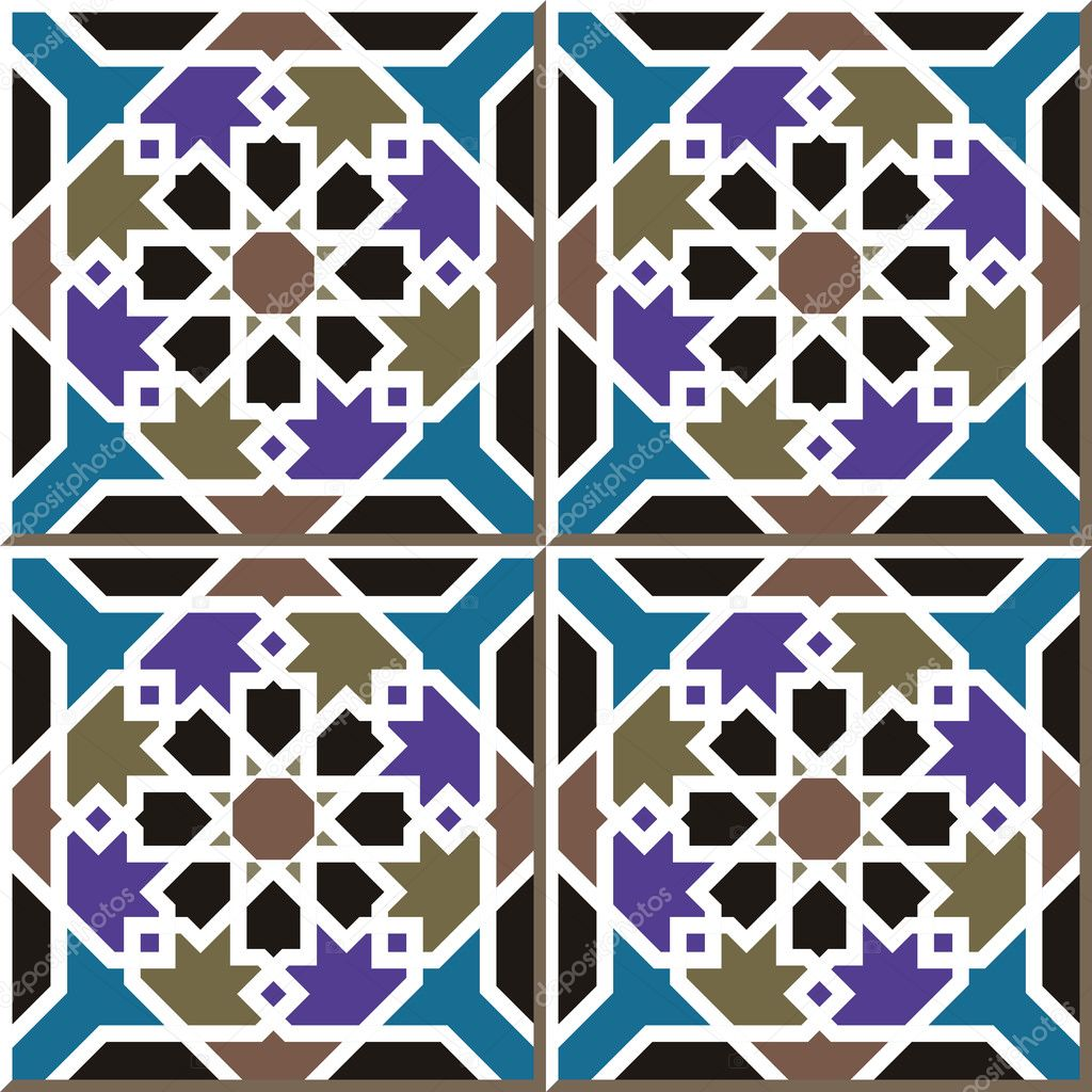 Vintage seamless wall tiles of Islam star frame, Moroccan ...