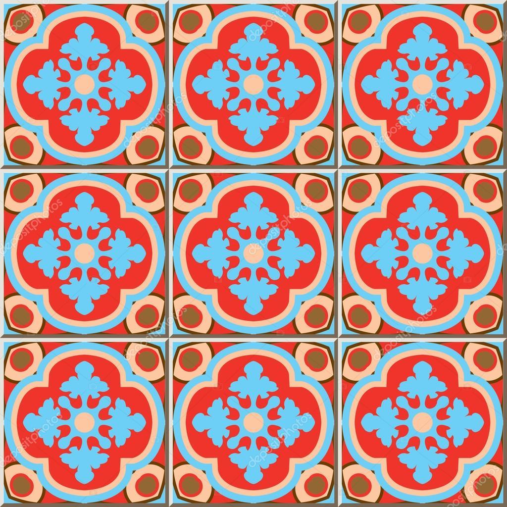 Ceramic tile pattern 337 retro red blue curve cross kaleidoscope ...