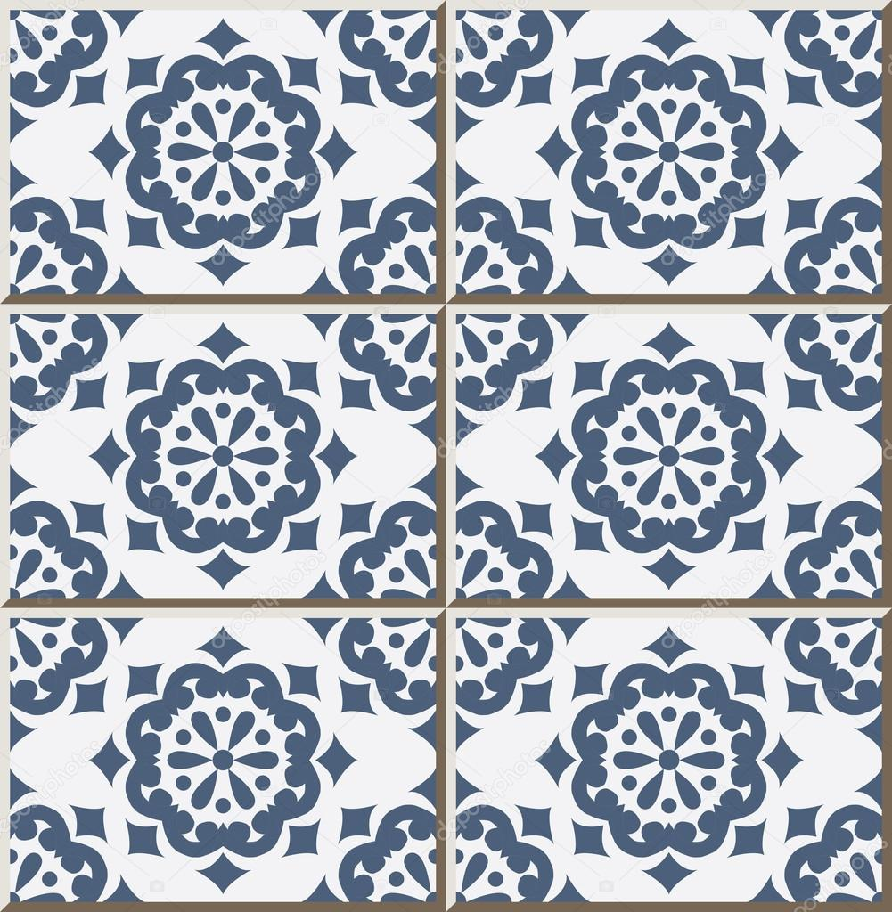 Ceramic tile pattern 355 vintage blue round flower — Stock Vector ...