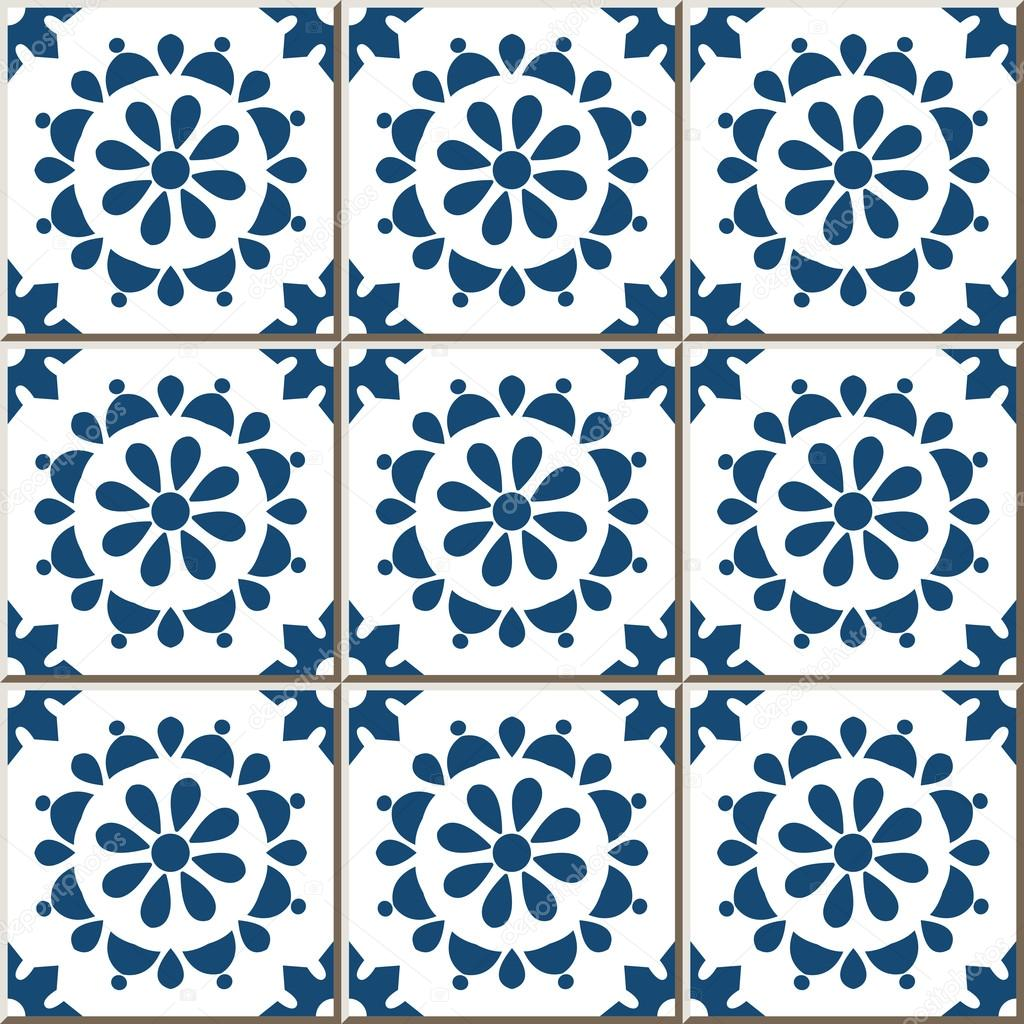 Ceramic tile pattern 356 vintage blue round cross flower — Stock ...