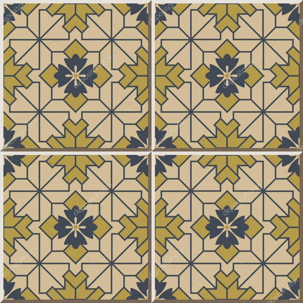 Ceramic tile pattern 390 check square cross line flower — Stock ...
