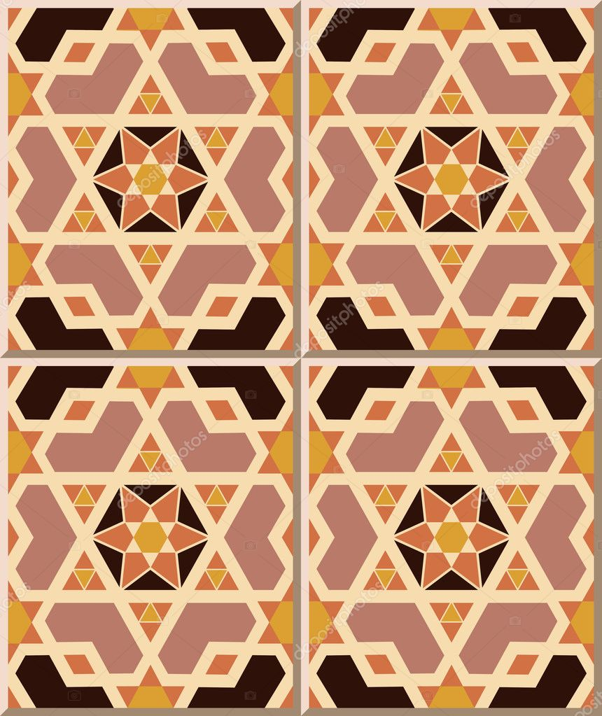 Ceramic Tile Pattern Islamic Geometry Cross Polygon Star Stock - Ceramic tile star designs