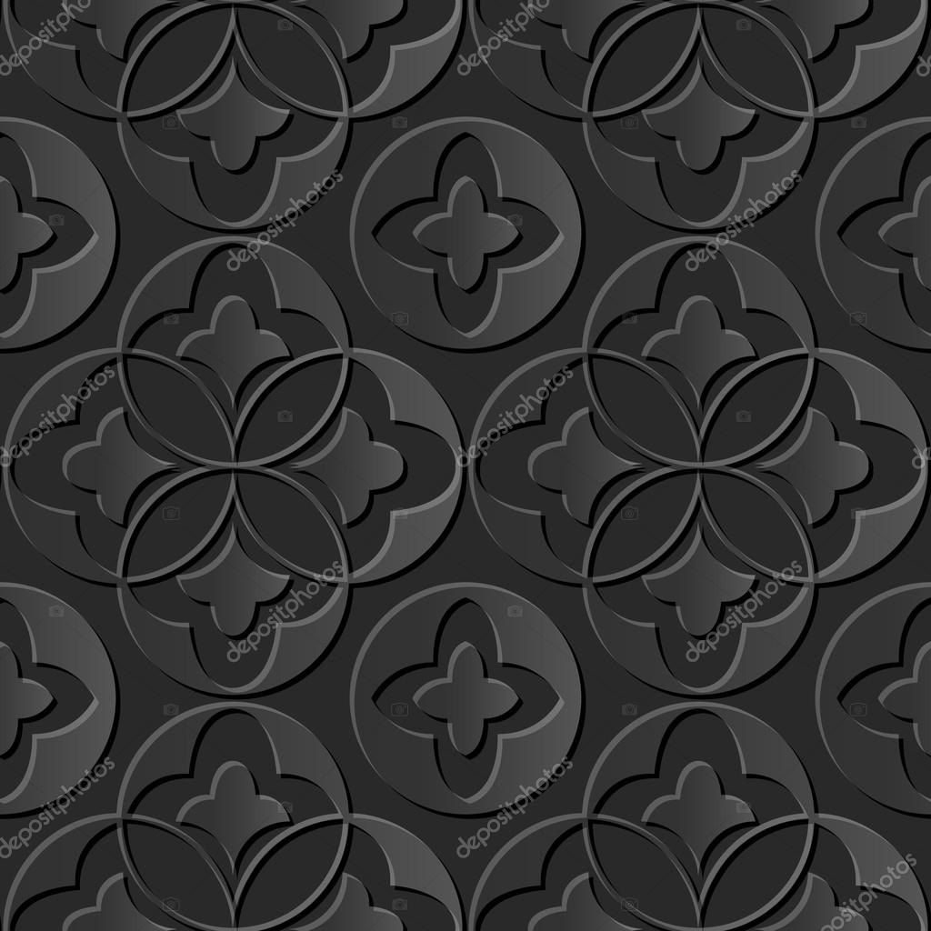 Seamless 3D elegant dark paper art pattern 179 Round Cross
